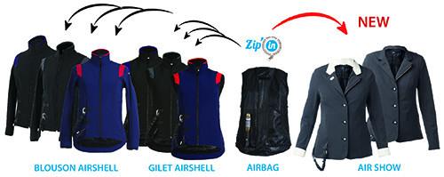 Zip out air bag